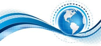 Голубое знамя глобуса Стоковые Фото
