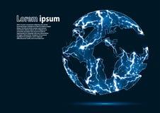 Голубое изображение яркого блеска земли планеты сформировало молниями Стоковое фото RF