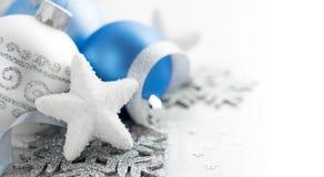 Голубое и серебряное украшение рождества Стоковая Фотография