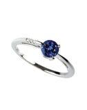 Голубое кольцо с бриллиантом сапфира Стоковые Изображения RF