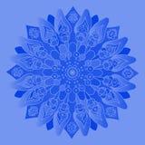 голубое мандала Изолированный вокруг элемента Стоковые Фотографии RF