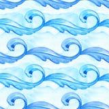 Голубое море развевает безшовная картина изображение иллюстрации летания клюва декоративное своя бумажная акварель ласточки части бесплатная иллюстрация
