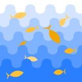 Голубое море с волнами иллюстрация вектора