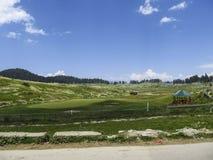 Голубое небо и зеленое поле стоковая фотография