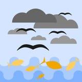 голубое небо моря иллюстрация вектора