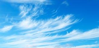 Голубое небо с светлыми облаками цирруса Стоковое Фото