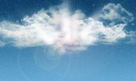 голубое небо 3D с падая снегом Стоковая Фотография RF