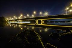 голубое ночное небо моста вниз Стоковые Фотографии RF