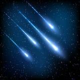 Голубое ночное небо с звездами стрельбы Стоковые Изображения RF