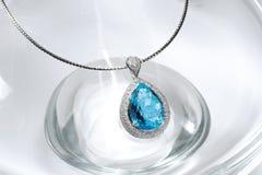 Голубое ожерелье топаза Стоковые Изображения