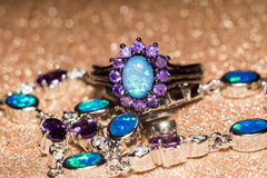 Голубое опаловое кольцо Стоковая Фотография