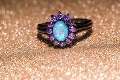 Голубое опаловое кольцо Стоковое фото RF