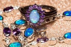 Голубое опаловое кольцо Стоковые Фото