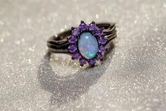 Голубое опаловое кольцо Стоковое Изображение