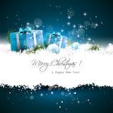 голубое приветствие рождества карточки иллюстрация вектора
