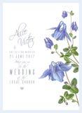 Голубое приглашение цветка иллюстрация вектора
