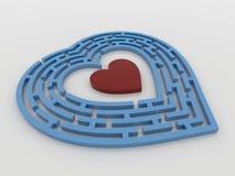 Голубое сердце лабиринта на белой предпосылке, 3D представляет Стоковое Изображение RF