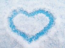 Голубое сердце от снежинок Стоковое Изображение