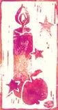 Голубое сердце - печать Linocut Стоковое фото RF