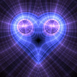Голубое сердце фрактали Стоковая Фотография