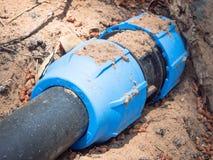 Голубое соединение трубки Стоковая Фотография