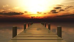 голубое солнце моря пристани деревянное Стоковое Фото