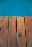 голубое солнце моря пристани деревянное Стоковое фото RF