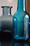 голубое стекло бутылок Стоковые Фото