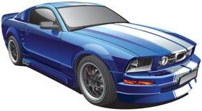 Голубой автомобиль мышцы иллюстрация вектора