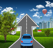 Голубой автомобиль на дороге Стоковая Фотография