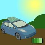Голубой автомобиль с солнечной батареей на своей крыше Стоковые Изображения RF