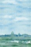Голубой ландшафт предпосылки акварели Стоковая Фотография