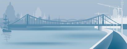 Голубой ландшафт с рекой в большом городе иллюстрация штока