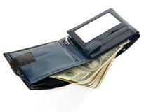 Голубой бумажник изолированный на белой предпосылке Стоковые Фотографии RF