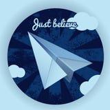 Голубой бумажный самолет Стоковые Фотографии RF