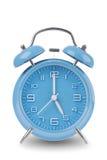 Голубой будильник изолированный на белизне Стоковое Фото