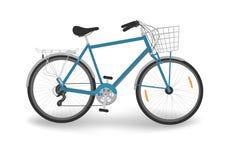 Голубой велосипед с корзиной Стоковое Изображение
