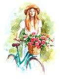 Голубой винтажный велосипед при покрашенная рука иллюстрации сада лета акварели корзины цветка Стоковые Изображения RF