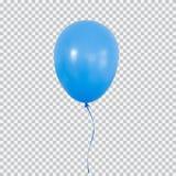 Голубой воздушный шар гелия изолированный на прозрачной предпосылке иллюстрация штока