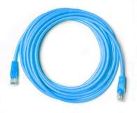 Голубой гибкий провод изолированный на белизне стоковое изображение