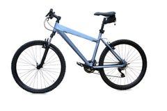 Голубой горный велосипед изолированный над белизной Стоковые Изображения RF