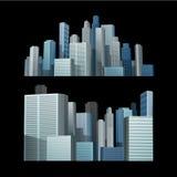 Голубой город здания перед черной предпосылкой Стоковая Фотография RF
