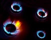 голубой горящий газ пламен естественный Стоковое Фото