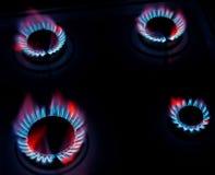 голубой горящий газ пламен естественный Стоковые Изображения