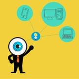 Голубой глаз получает идею заволочь вычислять концепции Стоковая Фотография