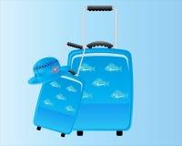 Голубой декоративный чемодан Backround Стоковое Изображение RF