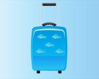 Голубой декоративный чемодан Backround Стоковые Фотографии RF