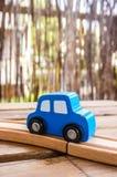 Голубой деревянный автомобиль игрушки Стоковое фото RF