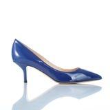 Голубой женский ботинок высокой пятки Стоковое фото RF