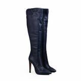 Голубой женский ботинок высокой пятки Стоковые Изображения
